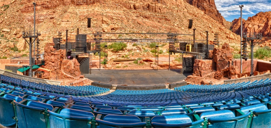 "A broad-view of the desert's Broadway: the Tuacahn Ampitheater in St. George, Utah. Imagine seeing Ms. Poppins's silhouette cast on those red-rock cliffs. ""Coo, what a sight!"""
