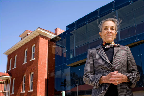 Diane Disney Miller, standing in front of one of her greatest contributions to the DIsney legacy: The Walt Disney Family Museum.