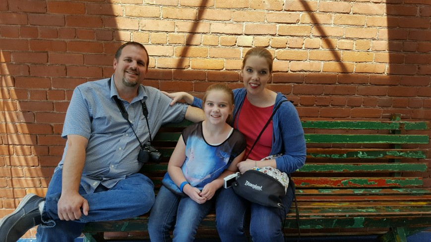 "My lovely family and I on ""Walt's Bench."""