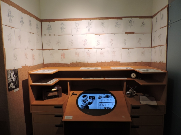 Animator's Desk, displaying sketches from Walt Disney's Pinocchio.